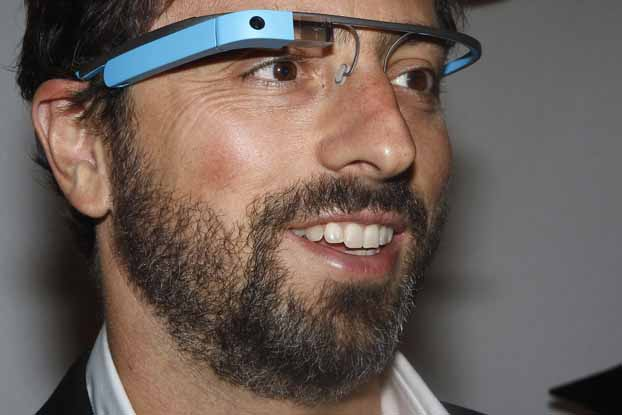 File photo of Google founder Sergey Brin posing for a portrait wearing Google Glass glasses during New York Fashion Week